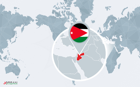 World Map Centered On America With Magnified Jordan. Blue Flag ...