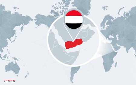 World map centered on America with magnified Yemen. Blue flag and map of Yemen. Abstract vector illustration. Illustration