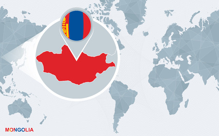 World map centered on America with magnified Mongolia. Blue flag and map of Mongolia. Abstract vector illustration.