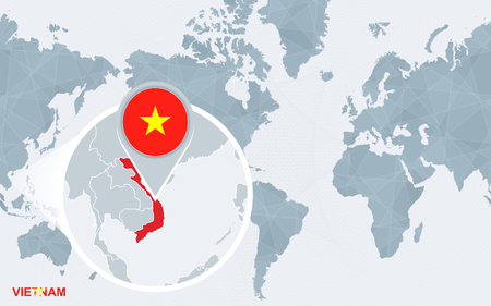 World Map Centered On America With Magnified Vietnam. Blue Flag ...
