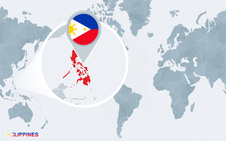 World map centered on America with magnified Philippines. Blue flag and map of Philippines. Abstract vector illustration.