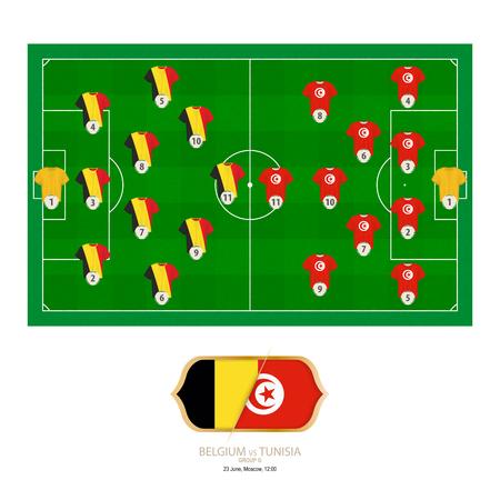 Football match Belgium versus Tunisia. Belgium preferred system lineup 3-4-2-1, Tunisia preferred system lineup 4-2-3-1.