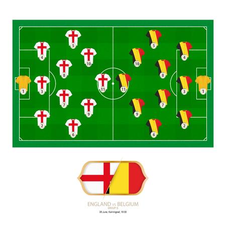 Football match England versus Belgium. England preferred system lineup 3-4-2-1, Belgium preferred system lineup 3-4-2-1.