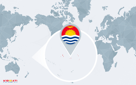 World map centered on America with magnified Kiribati. Blue flag and map of Kiribati. Abstract vector illustration. Stock Illustratie