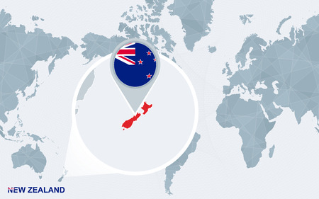 World map centered on America with magnified New Zealand. Blue flag and map of New Zealand. Abstract vector illustration.
