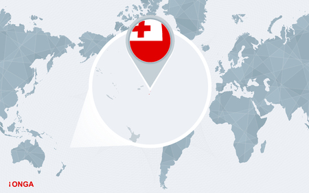 World map centered on America with magnified Tonga. Blue flag and map of Tonga. Abstract vector illustration.