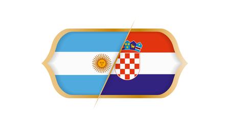 Soccer world championship Argentina vs Croatia. Vector illustration. Stock Illustratie