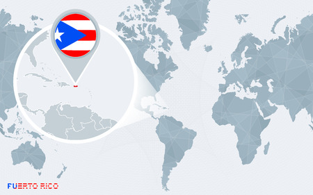 World map centered on America with magnified Puerto Rico. Blue flag and map of Puerto Rico. Abstract vector illustration.