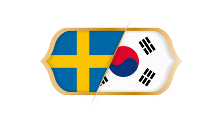 Soccer world championship Sweden vs South Korea. Vector illustration.