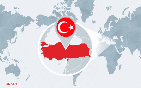 World map centered on America with magnified Turkey. Blue flag and map of Turkey. Abstract vector illustration.