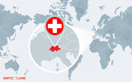 World map centered on America with magnified Switzerland. Blue flag and map of Switzerland. Abstract vector illustration.