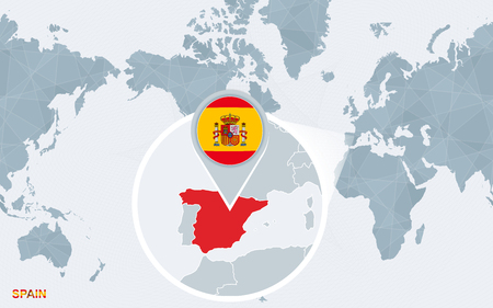 World map centered on America with magnified Spain. Blue flag and map of Spain. Abstract vector illustration. Ilustração