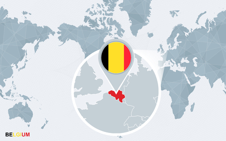 World map centered on America with magnified Belgium. Blue flag and map of Belgium. Abstract vector illustration.