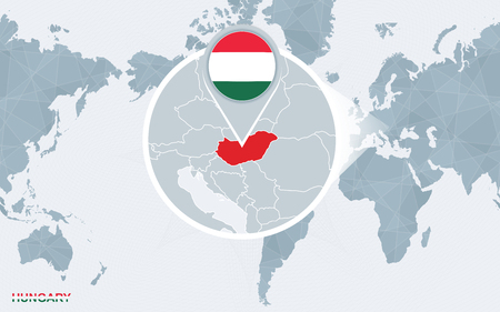 World map centered on America with magnified Hungary. Blue flag and map of Hungary. Abstract vector illustration. 向量圖像