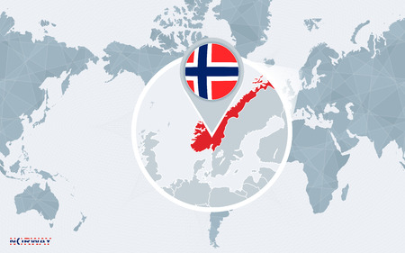 World map centered on America with magnified Norway. Blue flag and map of Norway. Abstract vector illustration.