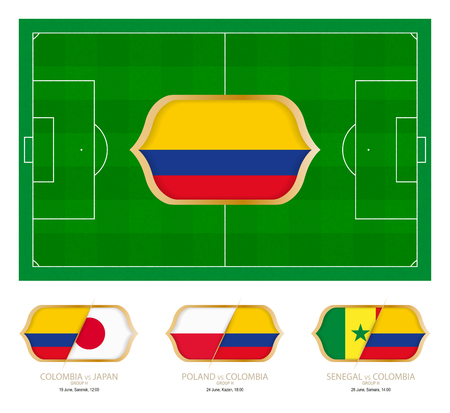 All games by Colombian soccer team in group H. Vektorové ilustrace