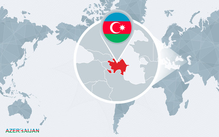 World map centered on America with magnified Azerbaijan. Blue flag and map of Azerbaijan. Abstract vector illustration.