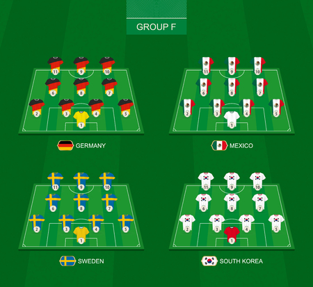 Football field with members of group F of the international soccer tournament: Germany, Mexico, Sweden, South Korea. Ilustração
