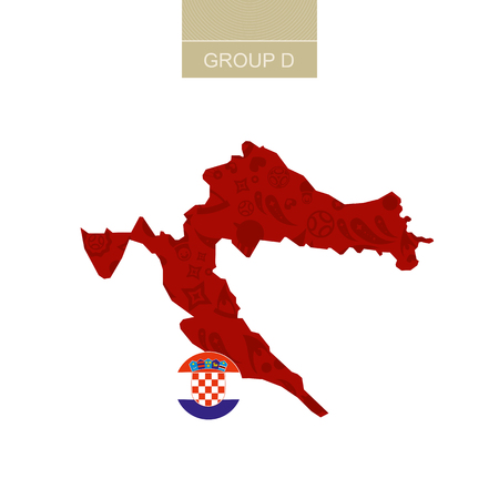 Croatia map contour with soccer abstract pattern. Illustration