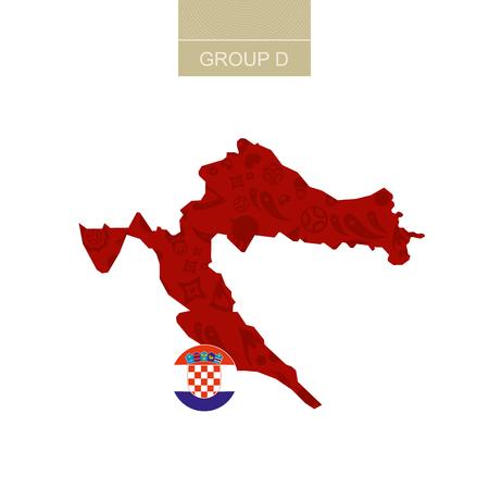 Kroatië kaart contour met voetbal abstract patroon.
