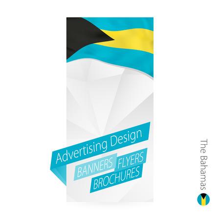 バハマのためのベクトル抽象バナーテンプレート。バハマの旗を持つ広告テンプレート。