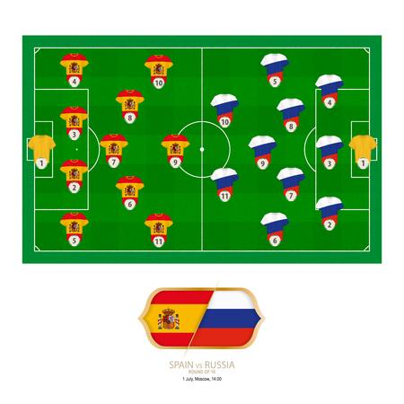 Football match Spain versus Russia. Spain preferred system lineup 4-5-1, Russia preferred system lineup 3-5-2.