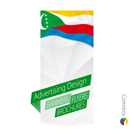 Vector abstract banner template for Comoros. Advertising template with flag of Comoros.