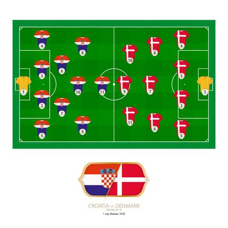 Football match Croatia versus Denmark. Croatia preferred system lineup 4-2-3-1, Denmark preferred system lineup 4-3-3. Stock Illustratie