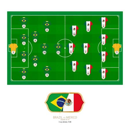 Football match Brazil versus Mexico. Brazil preferred system lineup 4-2-3-1, Mexico preferred system lineup 4-3-3. Stock Illustratie