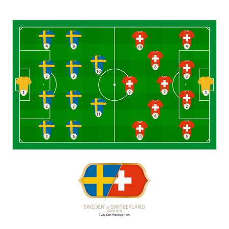 Football match Sweden versus Switzerland. Sweden preferred system lineup 4-4-2, Switzerland preferred system lineup 4-2-3-1.