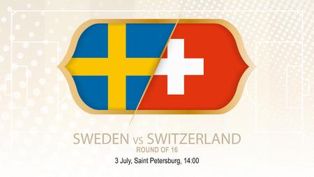Sweden vs Switzerland, Round of 16. Football competition, Saint Petersburg. On beige soccer background.