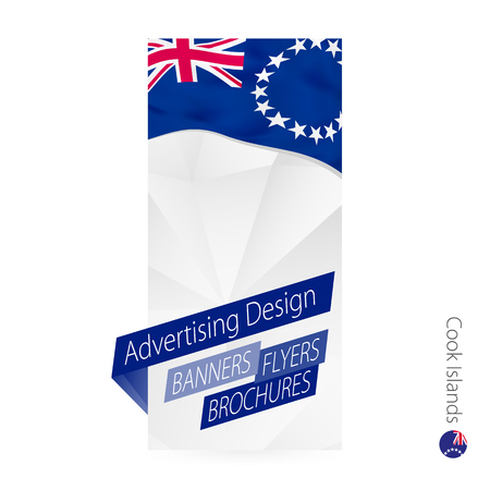 Vector abstract banner template for Cook Islands. Advertising template with flag of Cook Islands. Illustration