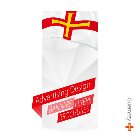 Vector abstract banner template for Guernsey. Advertising template with flag of Guernsey. Illustration