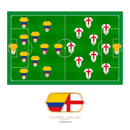 Football match Colombia versus England. Colombia preferred system lineup 4-2-3-1, England preferred system lineup 3-4-2-1.