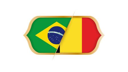 Soccer world championship Brazil vs Belgium. Vector illustration.