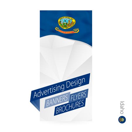 Vector abstract banner template for US state Idaho. Advertising template with flag of Idaho.