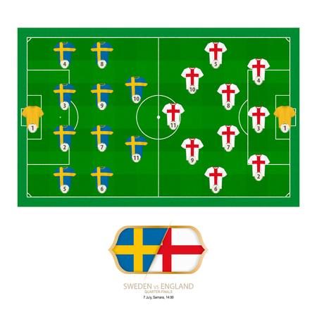 Football match Sweden versus England. Sweden preferred system lineup 4-4-2, England preferred system lineup 3-4-2-1.