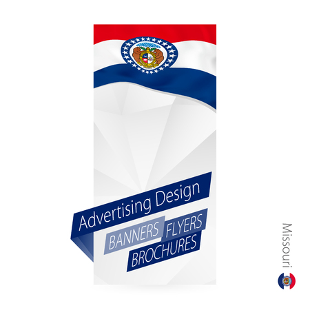 Vector abstract banner template for US state Missouri. Advertising template with flag of Missouri.