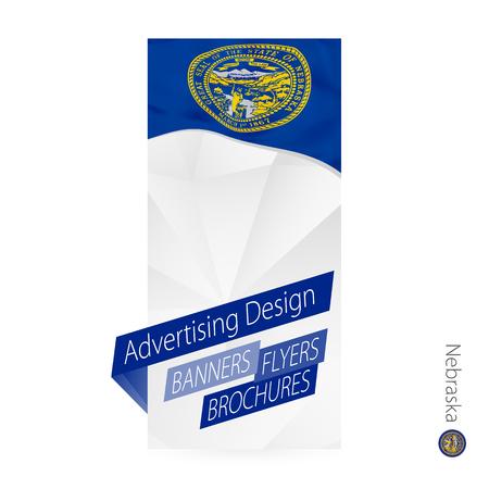 Vector abstract banner template for US state Nebraska. Advertising template with flag of Nebraska.