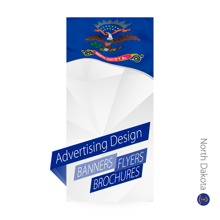 Vector abstract banner template for US state North Dakota. Advertising template with flag of North Dakota. Illustration