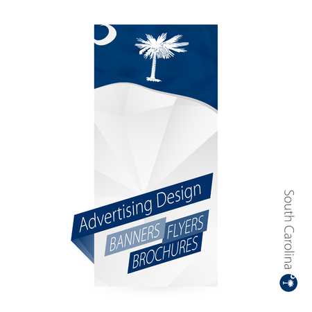 Vector abstract banner template for US state South Carolina. Advertising template with flag of South Carolina. Illustration