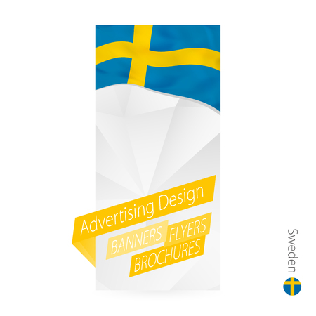 Vector abstract banner template for Sweden. Advertising template with flag of Sweden. Illustration