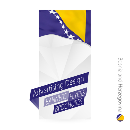 Vector abstract banner template for Bosnia and Herzegovina. Advertising template with flag of Bosnia and Herzegovina.