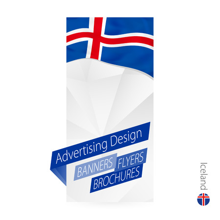 Vector abstract banner template for Iceland. Advertising template with flag of Iceland.