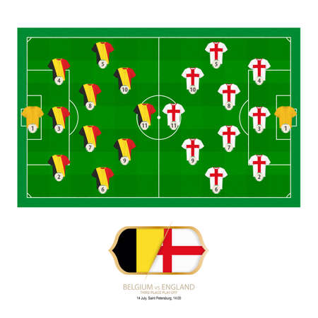 Football match Belgium versus England. Belgium preferred system lineup 3-4-2-1, England preferred system lineup 3-4-2-1. 일러스트