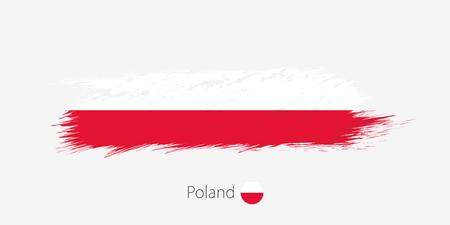 Drapeau de la Pologne, coup de pinceau abstrait grunge sur fond gris. Illustration vectorielle.