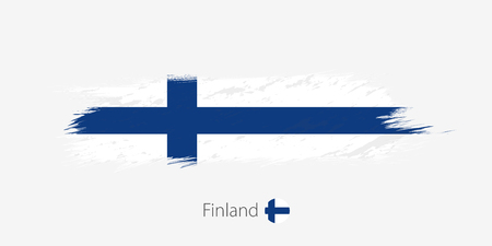 Flag of Finland, grunge abstract brush stroke on gray background. Vector illustration.