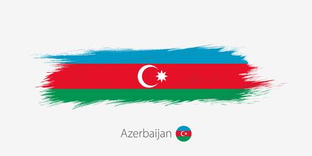 Flag of Azerbaijan, grunge abstract brush stroke on gray background. Vector illustration.