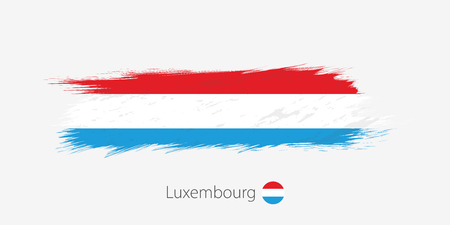 Flag of Luxembourg, grunge abstract brush stroke on gray background. Vector illustration.