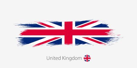 Flag of United Kingdom, grunge abstract brush stroke on gray background. Vector illustration.